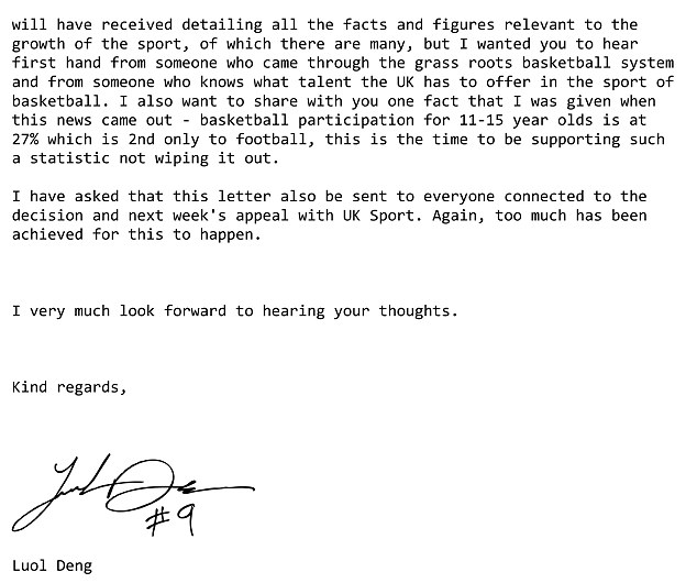 2016 rio olympics luol deng writes basketball funding letter to